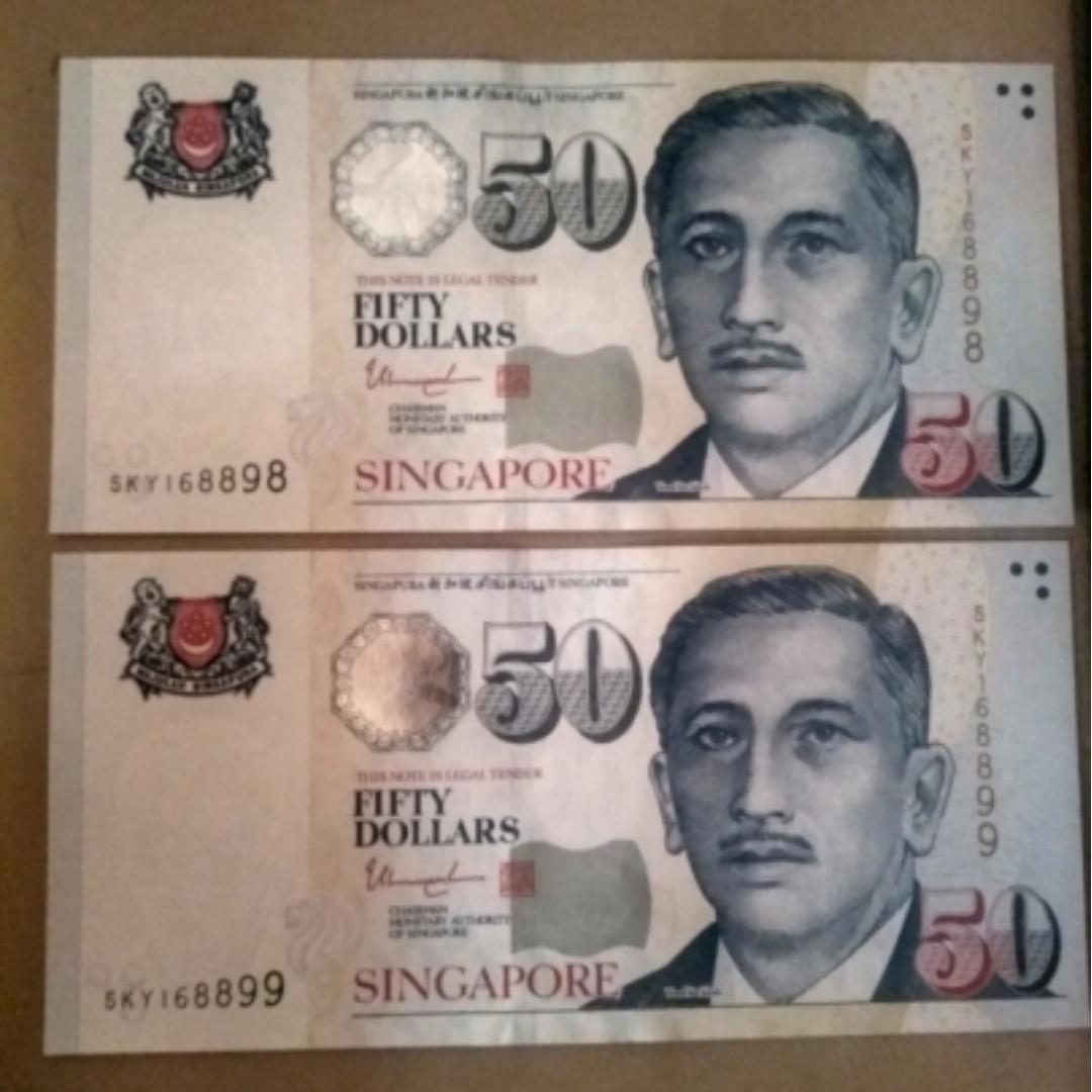 WTS: 4 50-dollar denomination Singapore currency notes with