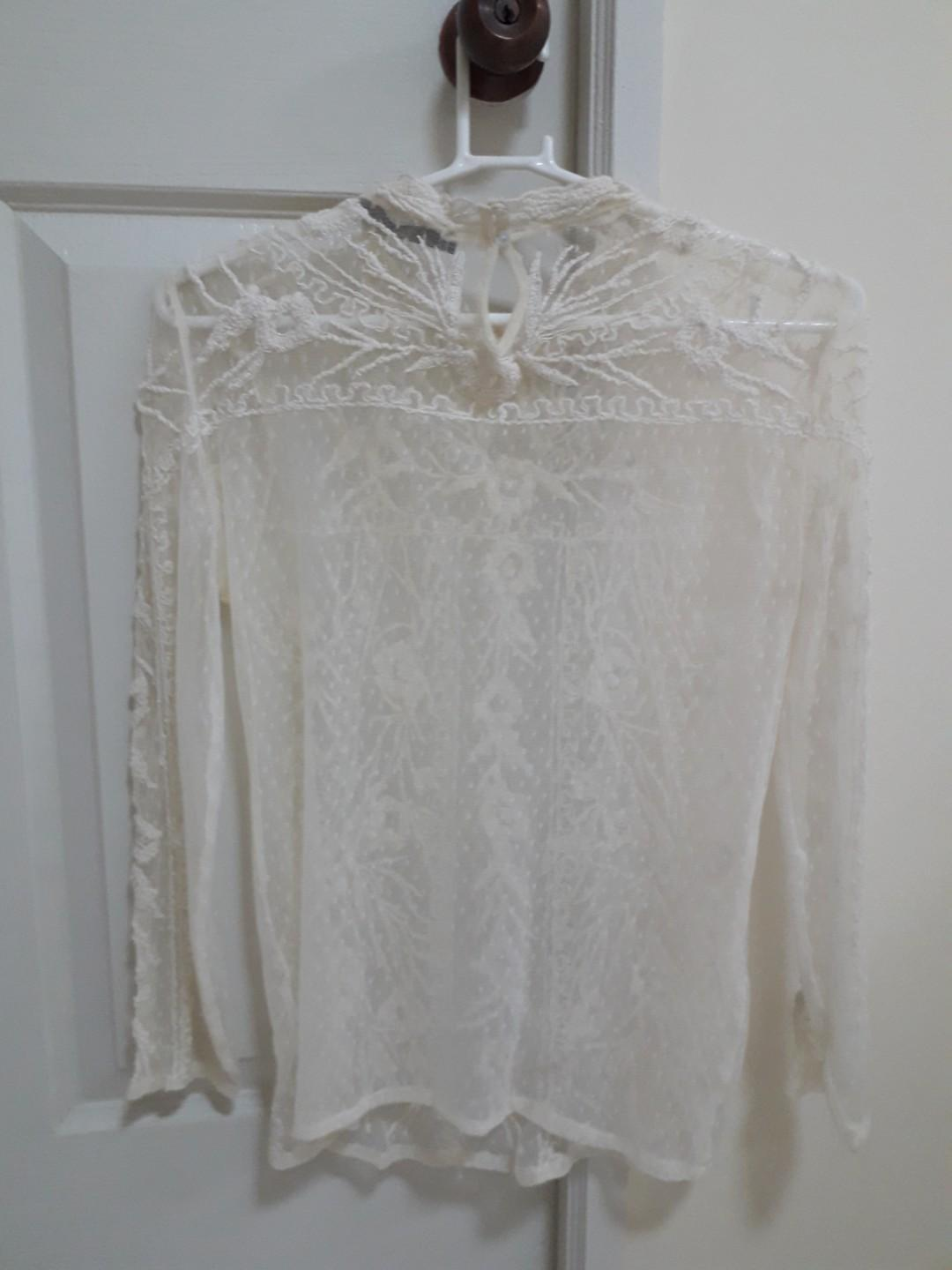 ZARA Cream Long Sleeve Blouse (Stretchable)
