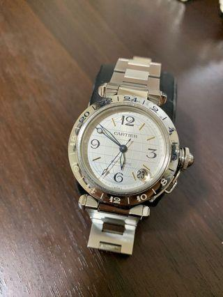 Cartier watch two time zone