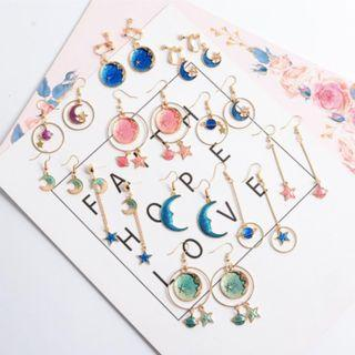 [2 PAIRS FOR $7] Korean Star and Moon Earrings (PO)