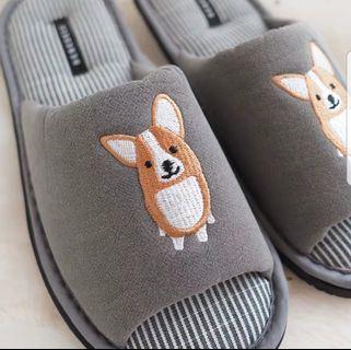 韓國哥基繡花灰色拖鞋鞋corgi