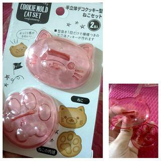 CAT FACE AND PAW COOKIE CUTTER CLAY MOLD BENTO MAKER