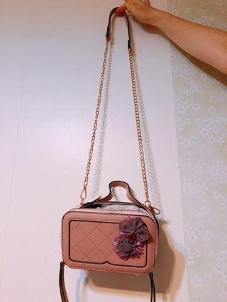 🌸Mori Mor 女裝豆沙粉色菱格手袋(*可側/斜揹/手挽)