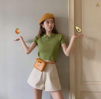 泫雅同款(圖十)!polo衫針織T恤短上衣 綠/米黃