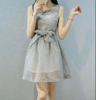 Front Bow Printed Mesh Fit & Flare Dress (Grey color)