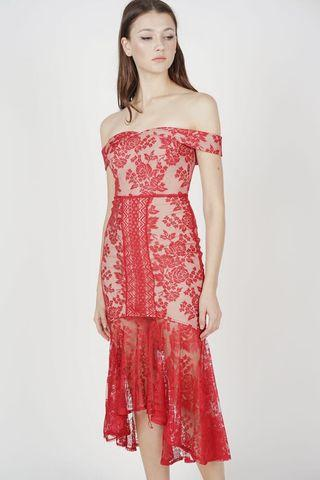 MDS Amie Lace Dress in Red