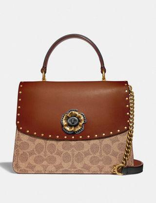 Coach Parker Top Handle in Signature Canvas and Rivets