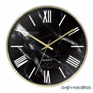 SALE⚡️GOLD BLACK MARBLE PRINT MODERN CHIC WALL CLOCK