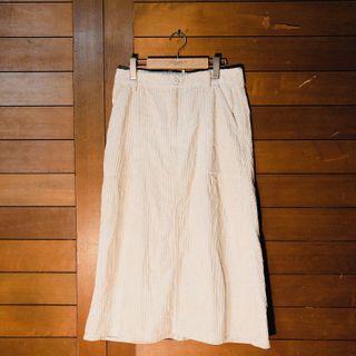 🍎Back Number日選店 純棉乳白燈芯絨口袋中長裙 薄燈芯絨後開衩長裙 古著白裙白長裙 口袋裙