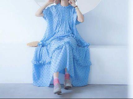 《洋裝 全新》仙女點點水藍洋裝