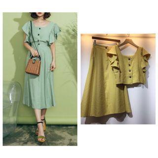 芥黃棉麻兩件式套裝洋裝