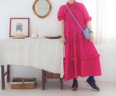 《洋裝 全新》玫紅色炸美古著洋裝