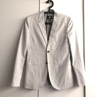 H&M white grey stripe dress blazer suit