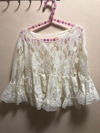 White Lace Babydoll Top