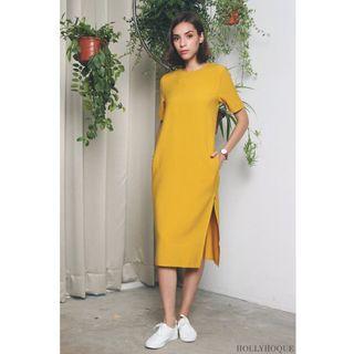HollyHoque Emma Slit Dress in Sunshine Yellow