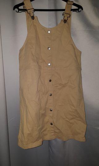 Monki beige pinafore dress