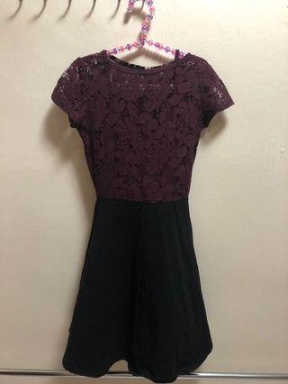 Maroon Skater Lace Dress