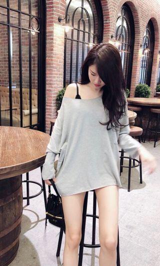 🚚 韓系寬鬆大口袋露肩棉質上衣