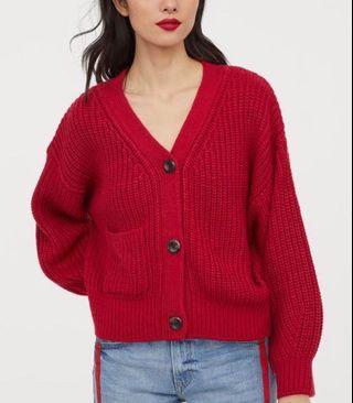 H&M red rib knit cardigan 💕💕