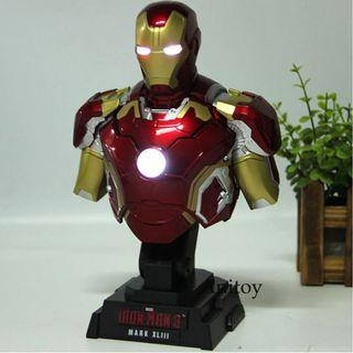 Marvel Avengers Iron Man Figure With Light Bust Collection Model Toy Mark III Htb28 1/4th Scale Ironman