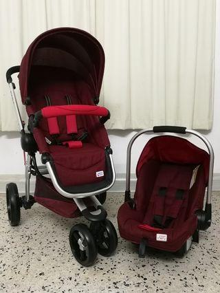 SET SCR 6 STROLLER in NEW VERSION MAROON cond like NEW ♥