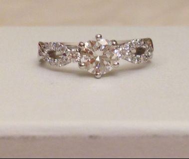 GIA 18K 天然鑽石戒指 主石69份 副石27份 極閃Au750 Natural Diamond Ring 3 Excellent None