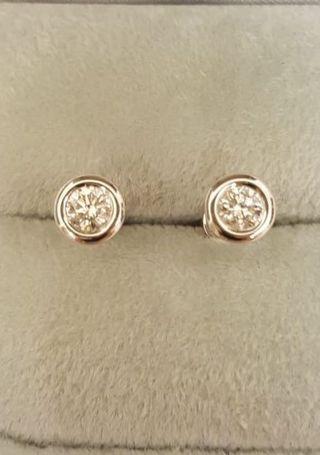 18K(750)natural diamond earrings 天然鑽石耳環54份極新淨