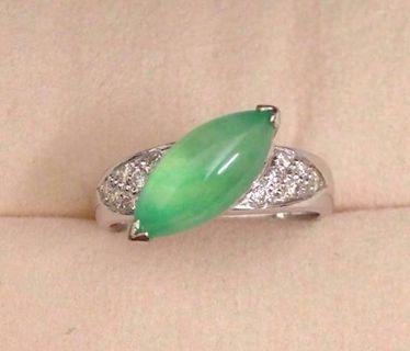 18K高級冰種翡翠配鑽石戒指水潤嫩綠保證A玉送香港証書