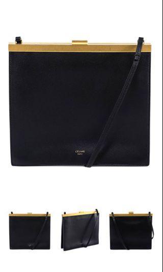 Classic Celine Clasp Black leather Bag