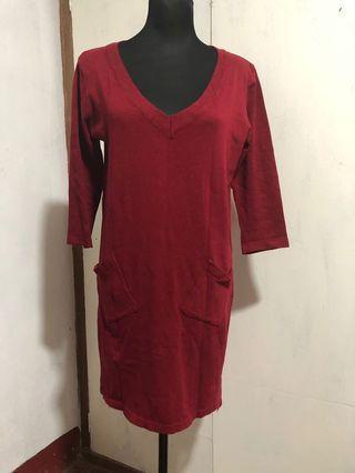 Maroon knit dress