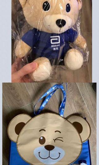 雅培熊仔超大購物袋連毛公仔