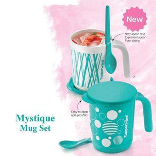 Tupperware Turquoise Green Blue Mug and Spoon Mystique Set