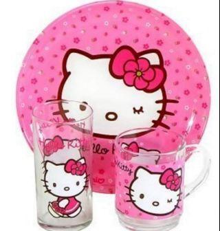 "Luminarc ""Hello Kitty Sweet Pink"" 3-pc Unbreakable Glass Child Dinnerware Set"