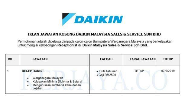JAWATAN KOSONG DAIKIN MALAYSIA SALES & SERVICE
