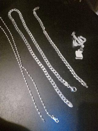 Sterling silver jewellery with charms and bracelet