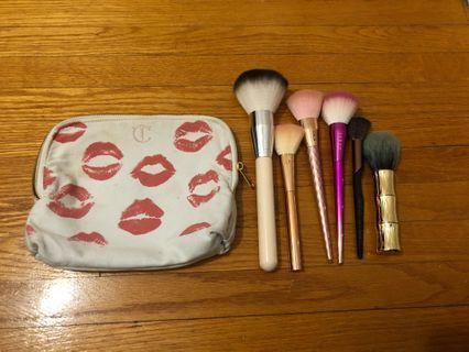 Charlotte Tilbury makeup bag + mixed brushes