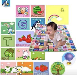 1.8mX1.5m   Double-Sided PE Waterproof Baby Crawling Play Mat Drawing Alphabet Figures Animals