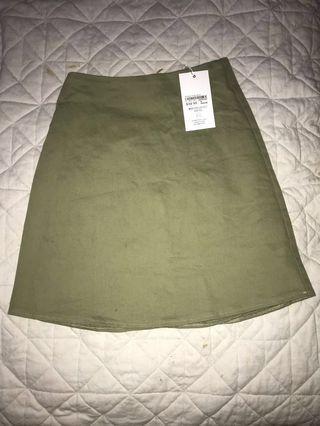 luck and trouble khaki stretch flat skirt #swapau