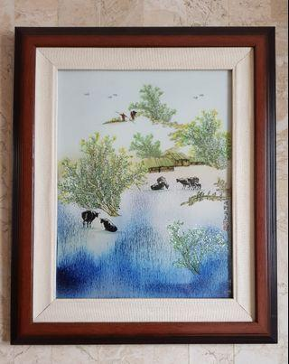"Vintage Low-fire Ceramic Art ""Buffalo Country Farm"""