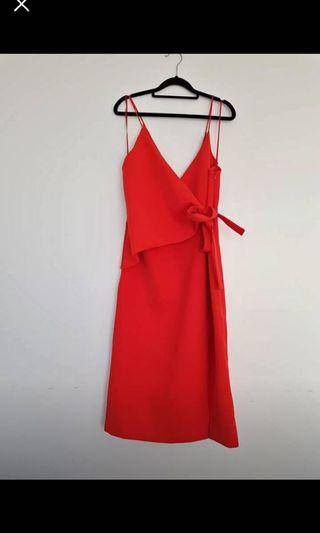 C/meo red dress size small