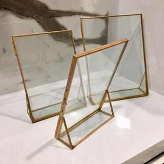 Shiny Gold Glass Photo Frames