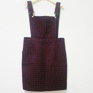 精品店購vivace黑紅格紋毛料吊帶短裙44(適合M)
