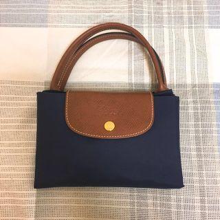 Longchamp 深藍 短手柄 M 折疊包