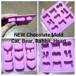 CHOCOLATE SILICON MOLD - CAT, BEAR, RABBIT, HEART DESIGN