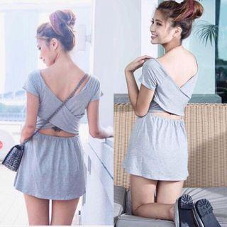 🚚 Grey back wrap dress