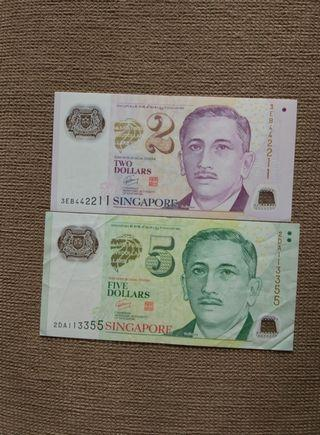 Sg $2 $5 doubles serial