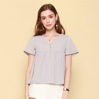 Anticlockwise ACW Button Down Babydoll Top in Dusty Grey