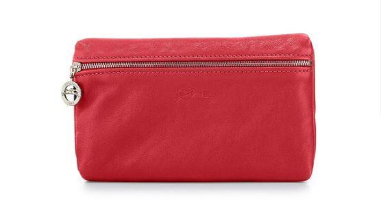 Authentic Red Longchamp Le Pliage Cuir Cosmetic Case Pouch