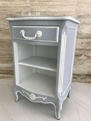 Antique style White grey Open Bedside Cabinet