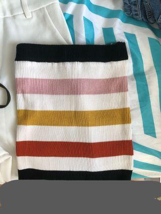 Ulzzang knitted rainbow stripe tibe top